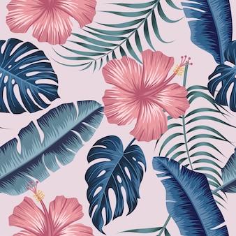 Patrones florales sin fisuras con hojas tropicales