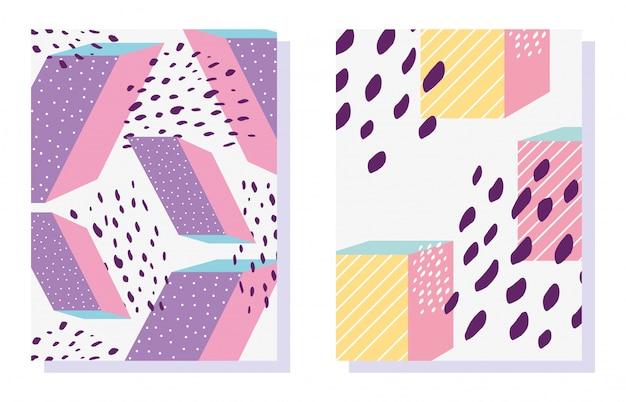 Patrones de formas geométricas de memphis en la moda de moda 80-90
