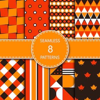 Patrones geométricos abstractos con color naranja, amarillo, blanco y marrón.