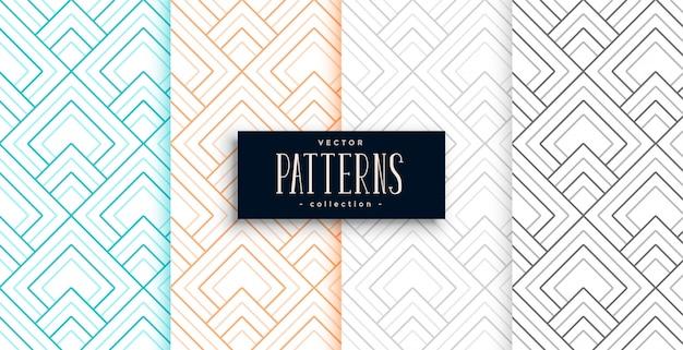 Patrones geométricos abstractos en cuatro colores.