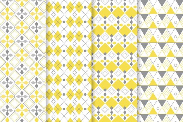 Patrones geométricos amarillos y grises