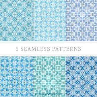 Patrones geométricos en tonos azules