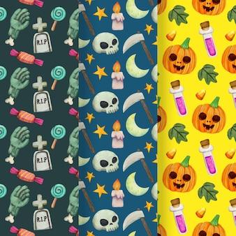 Patrones de halloween con calaveras y calabazas.