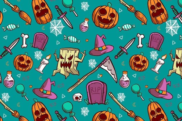 Patrones de halloween dibujados a mano