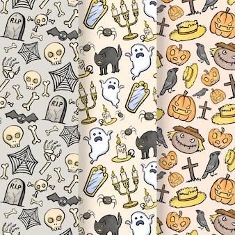 Patrones de halloween de diseño acuarela