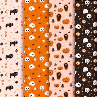 Patrones de halloween en diseño plano