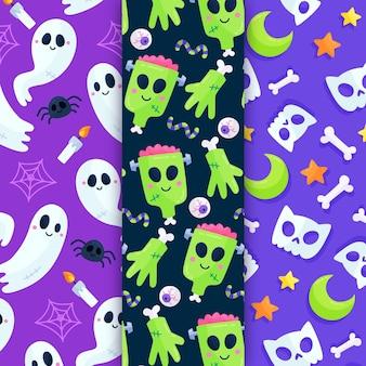 Patrones de halloween de diseño plano