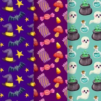 Patrones de halloween con fantasmas y dulces.