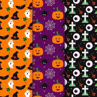 Patrones de halloween de miedo de diseño plano