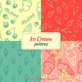 Patrones de helados dibujados a mano
