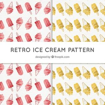 Patrones de helados vintage