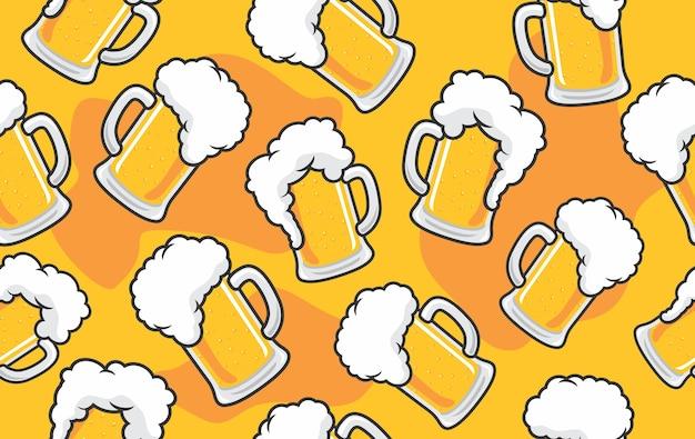 Patrones de jarras de cerveza de barril con espuma sobre fondo amarillo