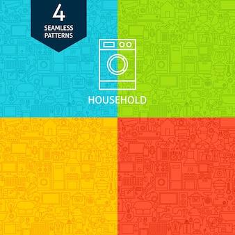 Patrones de línea de electrodomésticos. cuatro fondos inconsútiles del diseño del sitio web del vector.