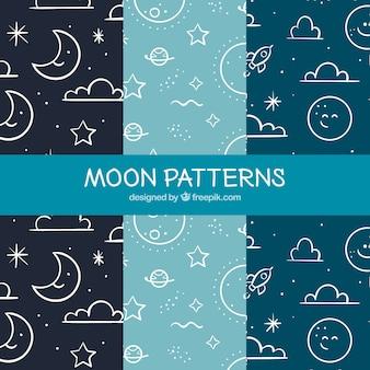 Patrones de lunas fantásticos con elementos lineales