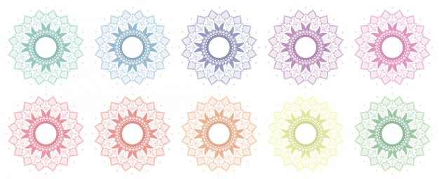 Patrones de mandala en muchos colores.