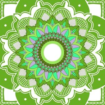 Patrones de mandala sobre fondo verde
