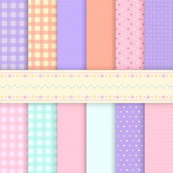Patrones mixtos de vectores de fondo pastel