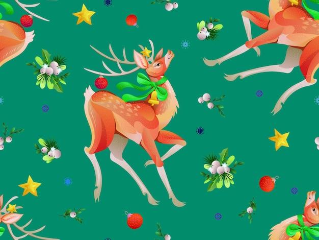Patrones de navidad sin fisuras con ciervos