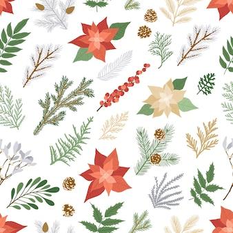 Patrones de navidad sin fisuras con plantas de invierno