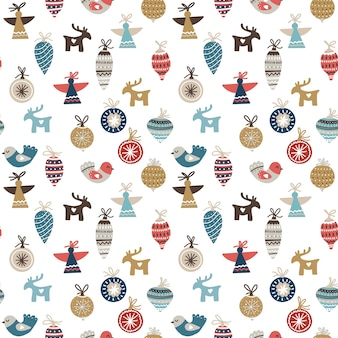 Patrones navideños sin fisuras con adornos, pájaros, ángeles y ciervos