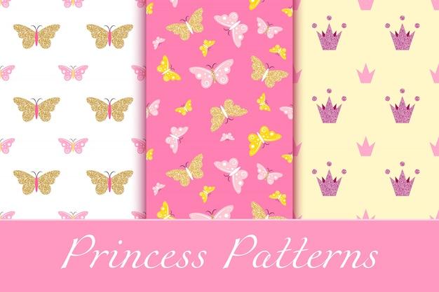 Patrones de niña con brillantes coronas y mariposas.