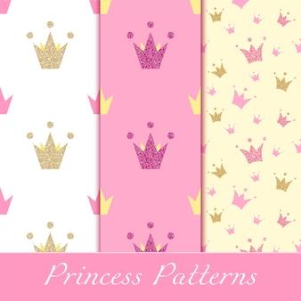 Patrones de princesa con brillantes coronas doradas y rosas.