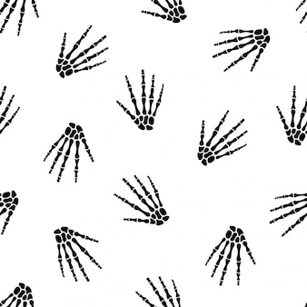 Patrones sin fisuras con mano esqueleto humano