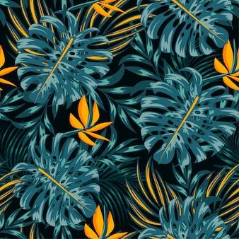Patrones tropicales sin fisuras de verano con coloridas plantas y hojas
