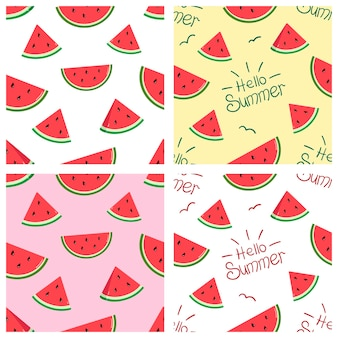 Patrones de vector con rodajas de sandía brillante y la inscripción hola frutas tropicales de verano