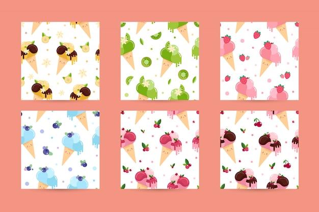 Patrones de vector transparente con conos de helado