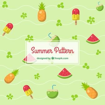 Patrones de verano en diseño plano con piña