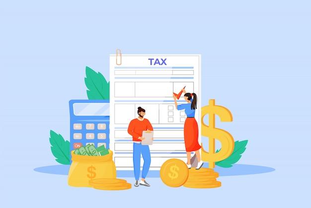 Pauta de pago de impuestos concepto plano ilustración. gente que llena la factura, factura de servicios públicos personajes de dibujos animados en 2d para diseño web. fiscalidad, gestión de finanzas, planificación presupuestaria, idea creativa