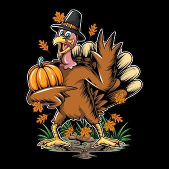El pavo de acción de gracias trae calabazas de otoño a la fiesta de halloween