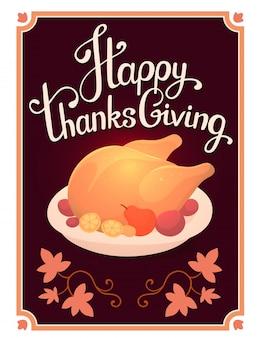Pavo asado dorado y texto feliz acción de gracias en el marco oscuro con hojas.