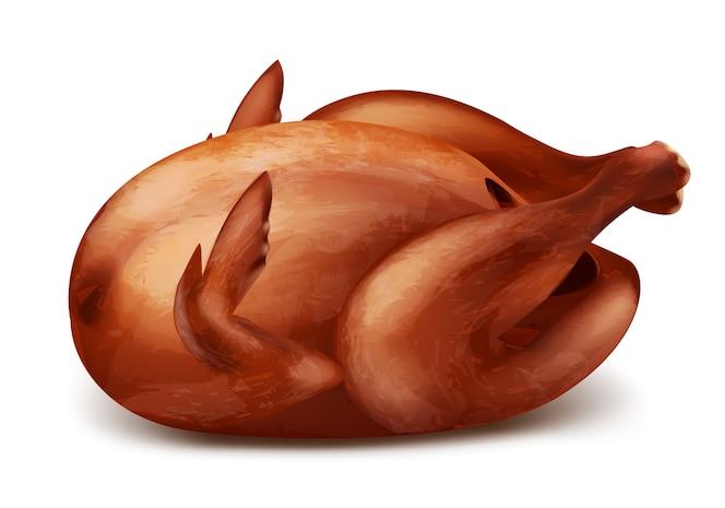 Pavo asado o pollo a la parrilla con corteza crujiente