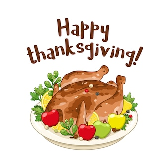 Pavo o pollo asado para el día de acción de gracias