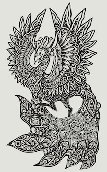 Pavo real fénix aves del paraíso mandala art