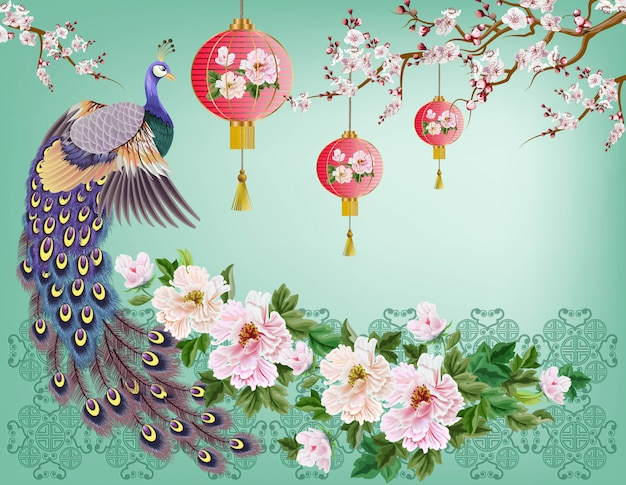 Pavo real en la rama, flor de ciruelo y pájaro grullas