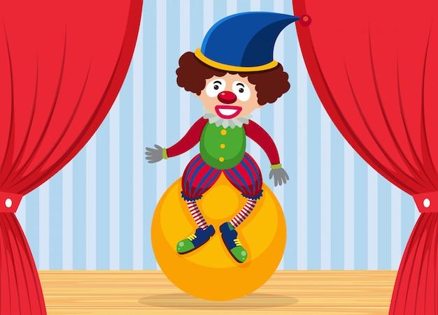 Payaso de circo en el escenario