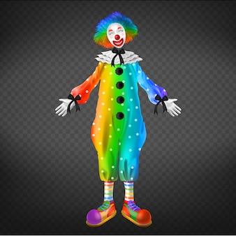 Payaso en el circo, hombre partido aislado en fondo transparente.