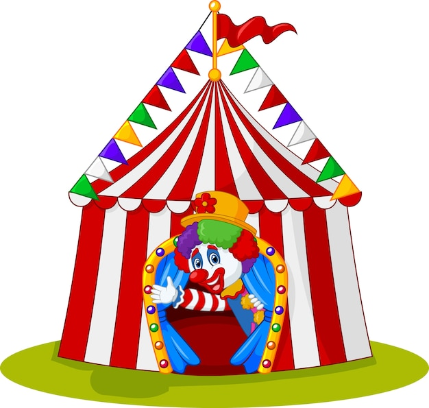 Payaso de dibujos animados, agitando la mano en la carpa de circo