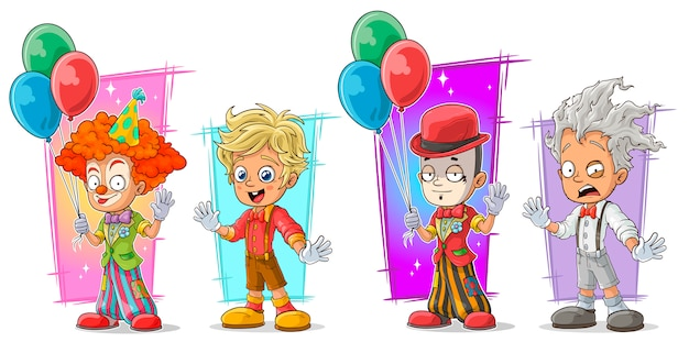 Payaso de dibujos animados con juego de caracteres de globo