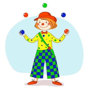 Payaso divertido con un sombrero rojo hace malabares con las bolas.