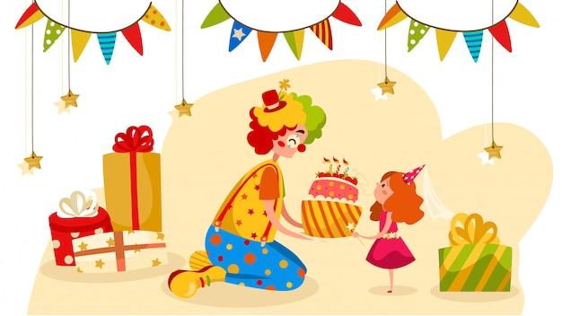 Payaso de fiesta da pastel de cumpleaños a niña feliz, ilustración de personas
