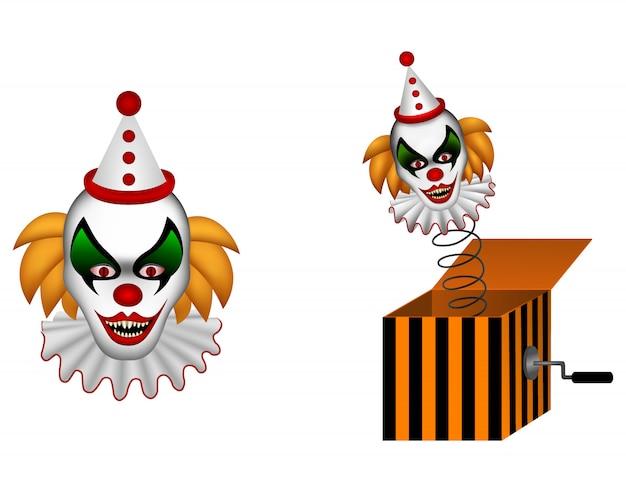Payaso de halloween y payaso en una ilustración de caja