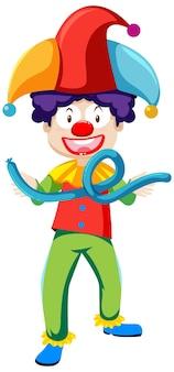 Payaso con personaje de dibujos animados de globos aislado sobre fondo blanco.