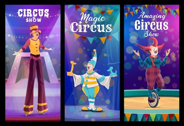 Payasos de dibujos animados de circo shapito y personajes de acróbatas. espectáculo de circo payaso sobre pilotes, mimo divertido con animales globo y comediante en monociclo. banners de vector de rendimiento de chapiteau con bufones