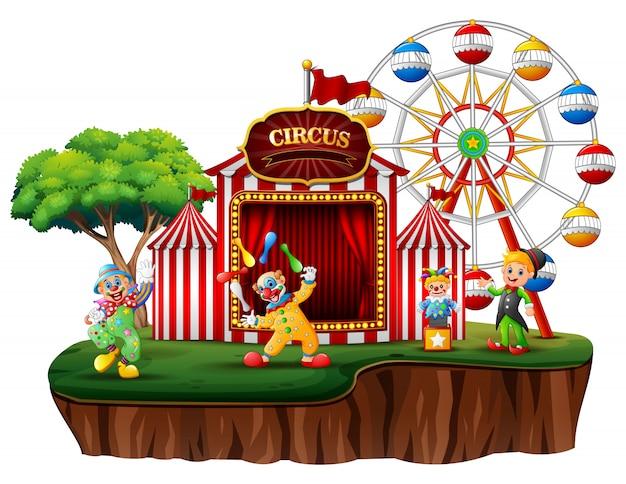 Payasos de dibujos animados en una isla con un carnaval