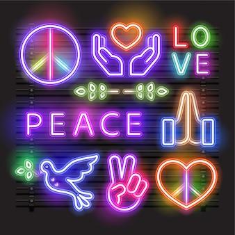 Paz, amor, corazón y una señal de neón de la paloma.