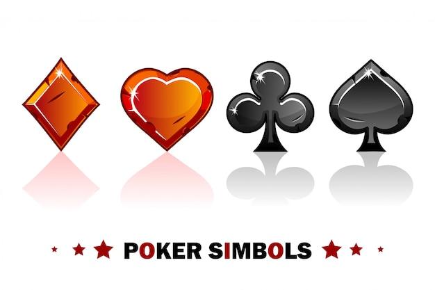 Peak, tref, chirva y pandereta, viejos símbolos de póker rojos y negros de naipes.